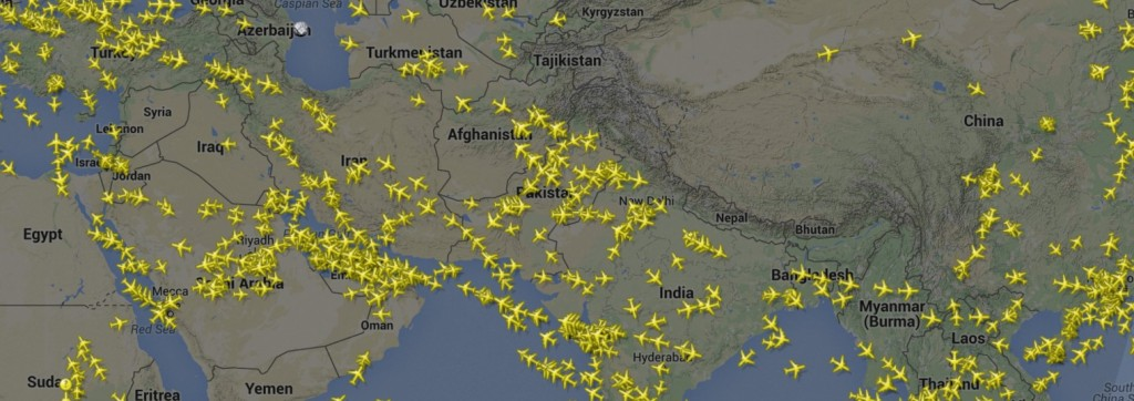 flight radar vol au dessus moyen orient